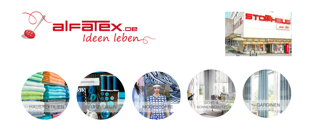 Fotomontage: Alfatex-Logo, Bilde der Filanile am Kö und Sortimentsbeispiele