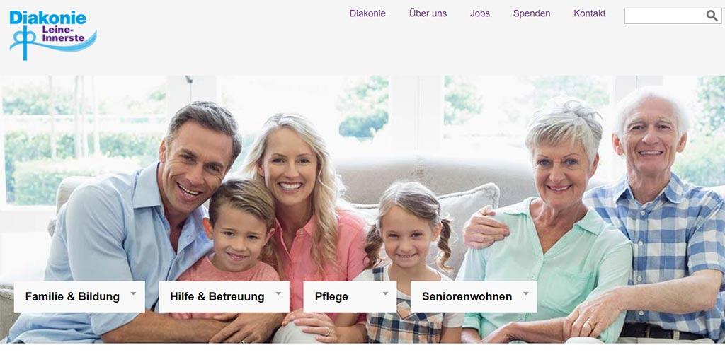 Screenshot der Webseite der Diakonischen Altenhilfe Hildesheim mit Gruppenaufnahme der Mitarbeiter
