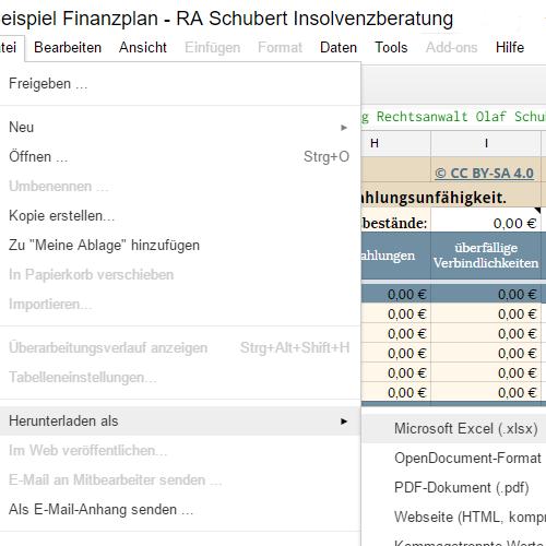Finanzplan mit Excel bearbeiten