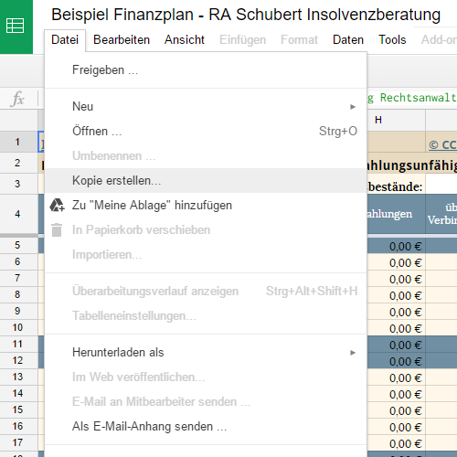 Finanzplan mit Google Tabellen bearbeiten