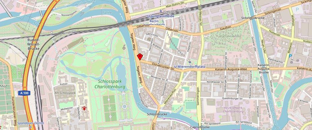 Kartenausschnitt Insolvenzberatung RA Schubert - Büro Berlin - mit Standortmarkierung