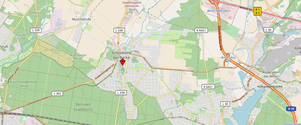 Kartenausschnitt für Büro Schöneiche bei Berlin - Insolvenzberatung RA Schubert