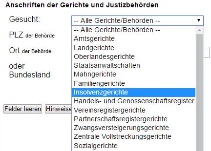 Screenshot: Justizportal mit Auswahl Insolvenzgerichte