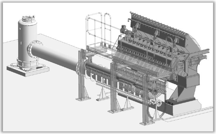 Strichzeichnung: Querstromverteiler - Spezialmaschine zur Papierherstellung