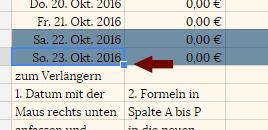 Screenshot Datumsbereich verlängern