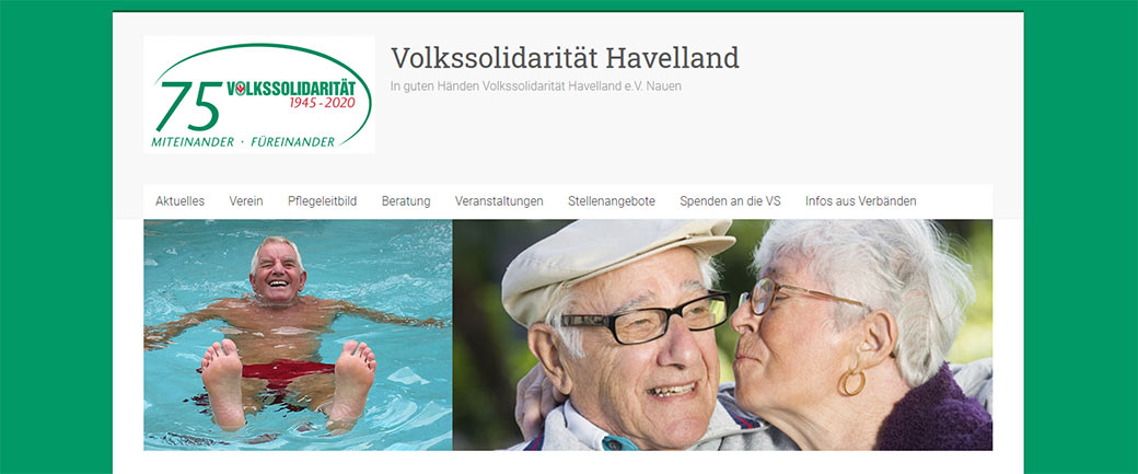Screenshot Startseite Webpräsenz Volkssolidarität Havelland