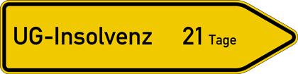 """Symbolbild: Wegweiser mit Aufschrift """"uot;GmbH-Insolvenz 21 Tage"""""""