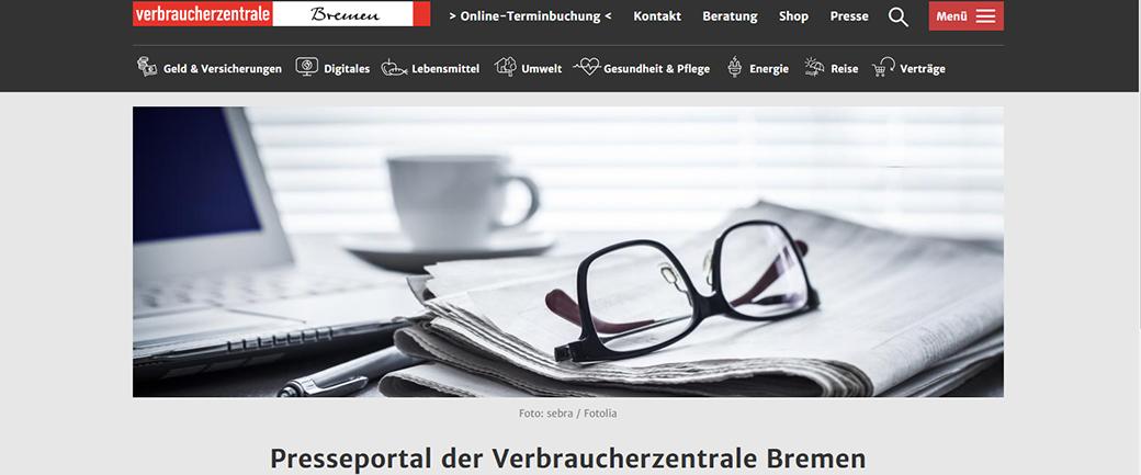 Screenshot der Webseite Presseportal der Verbraucherzentrale Bremen